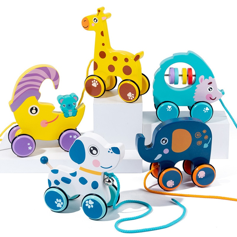 Baby Toddler Toy Cute Cartoon Animal Hand Pull Rope Push Pull Walker Wooden Building Block Toy Car Children's Early Education