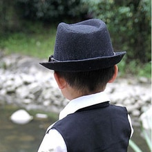 Fashion Cute Kid Children Gentleman Woolen Hat Cap Headwear Grey/Black AIC88