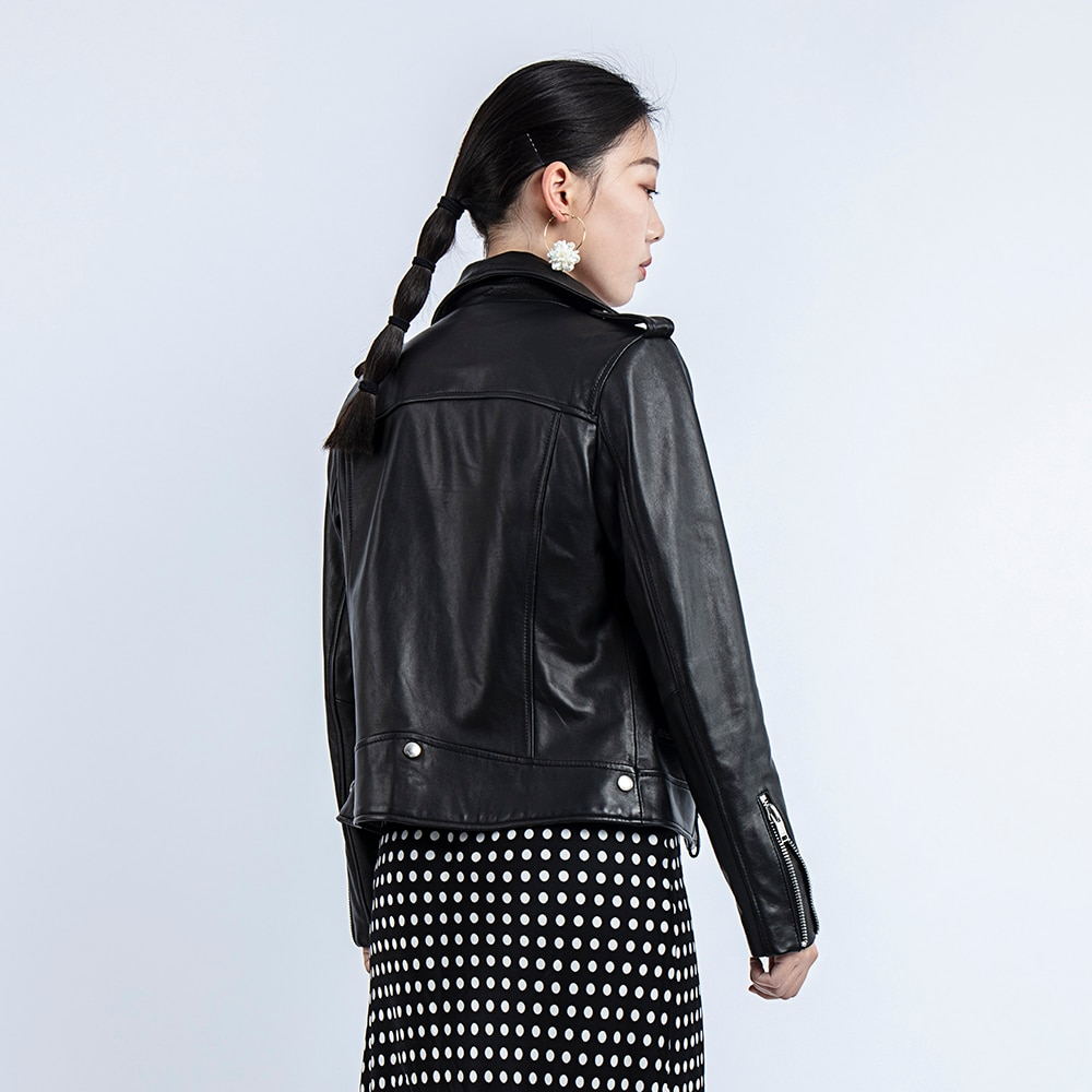 Autumn Genuine Women 2020 Fashion Real Sheepskin Rivet Motorcycle Biker Jacket Female Sheep Leather Coat