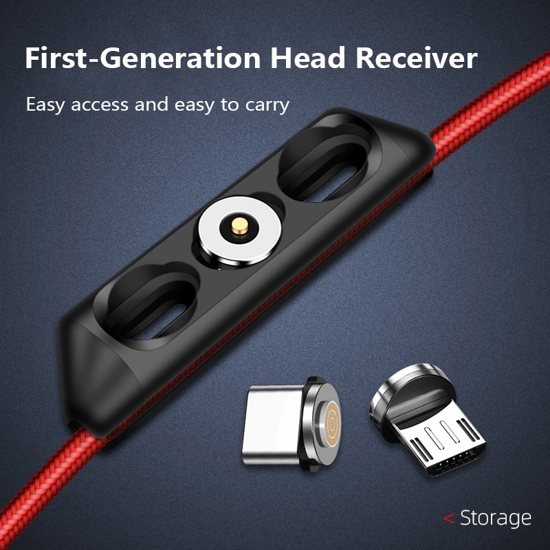 Caja de enchufe de Cable magnético Tipo portátil C Micro USB C 8 Pin Cable de teléfono imán de elipse 3 tipos de enchufe 3 en 1 caja de almacenamiento