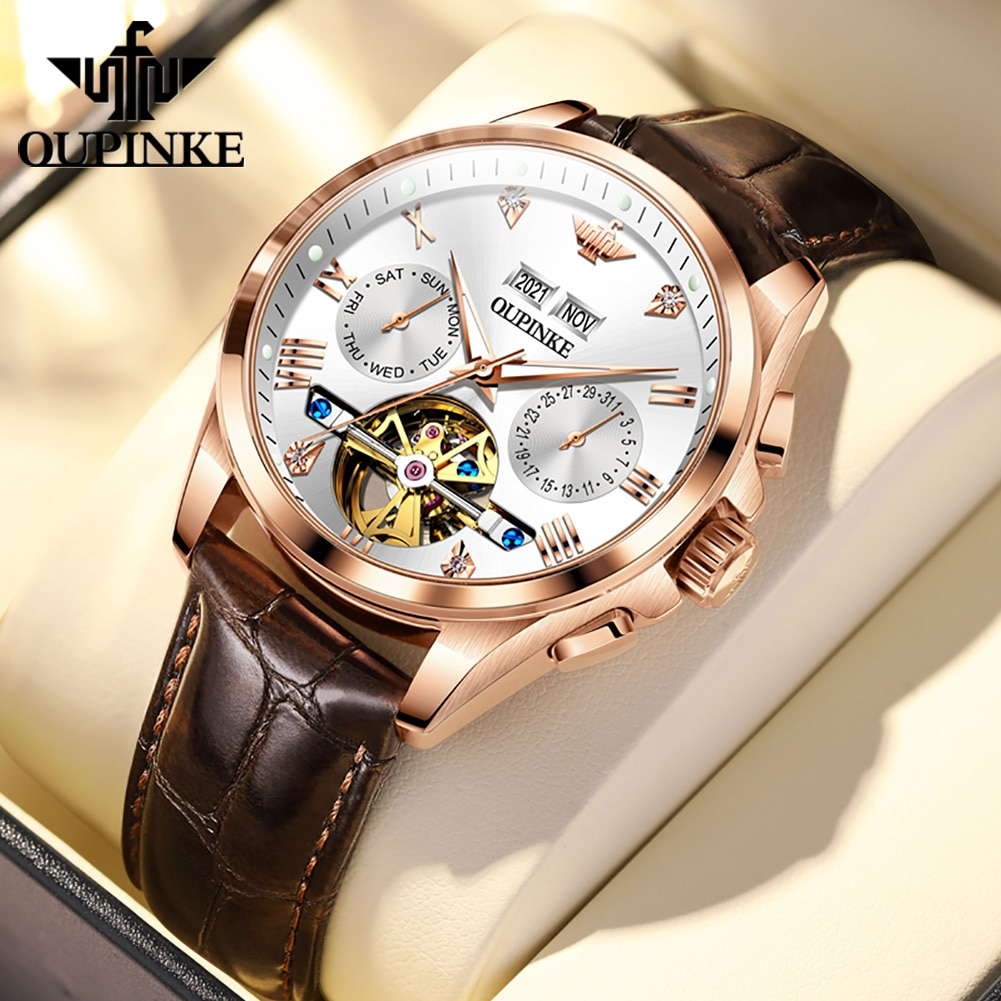 OUPINKE Watches For Men Automatic Mechanical Watch Men Sapphire Mirror 50M Waterproof Leather Strap