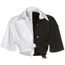 Harajuku Streetwear Vrouwen T-shirt Zwart Wit Patchwork Korte Mouw Grunge Shirt Losse Lace Up Korte Tops