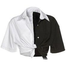 Harajuku Streetwear mujeres camiseta Patchwork blanco negro de manga corta Camisa Grunge suelto de encaje corto Tops