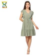 CGYY Boho Women Summer Green Dress Ladies 2021 Dot Print Bow Tie Design Sexy Short Ruffles Beach Ves