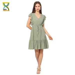 CGYY Boho Women Summer Green Dress Ladies 2021 Dot Print Bow Tie Design Sexy Short Ruffles Beach Vestidos