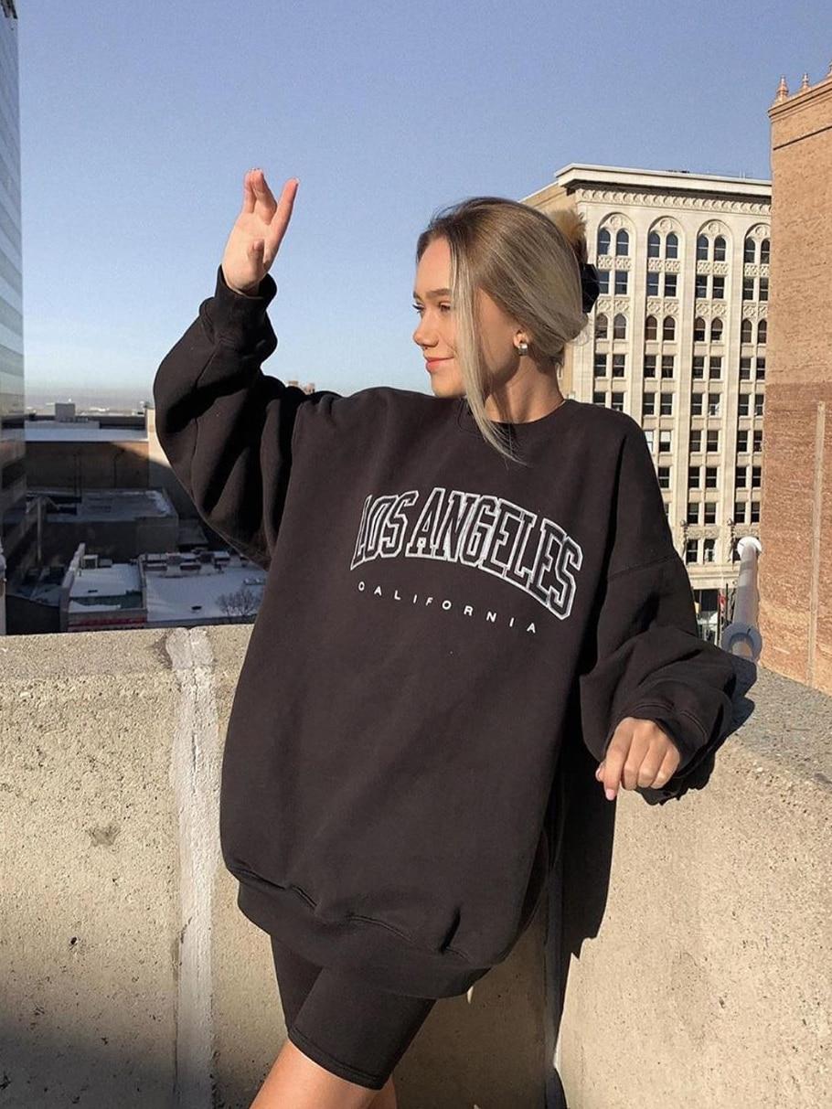 Letter Print Pullovers Streetwear Women Hoodies Long Sleeve Loose Summer Casual Woman Sweatshirt 2021 Fashion Hoodies For Women