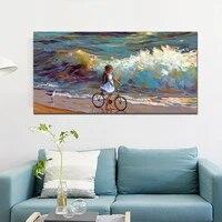 Peinture murale fille et oiseaux de mer avec vagues  imprimee sur toile  decoration de maison