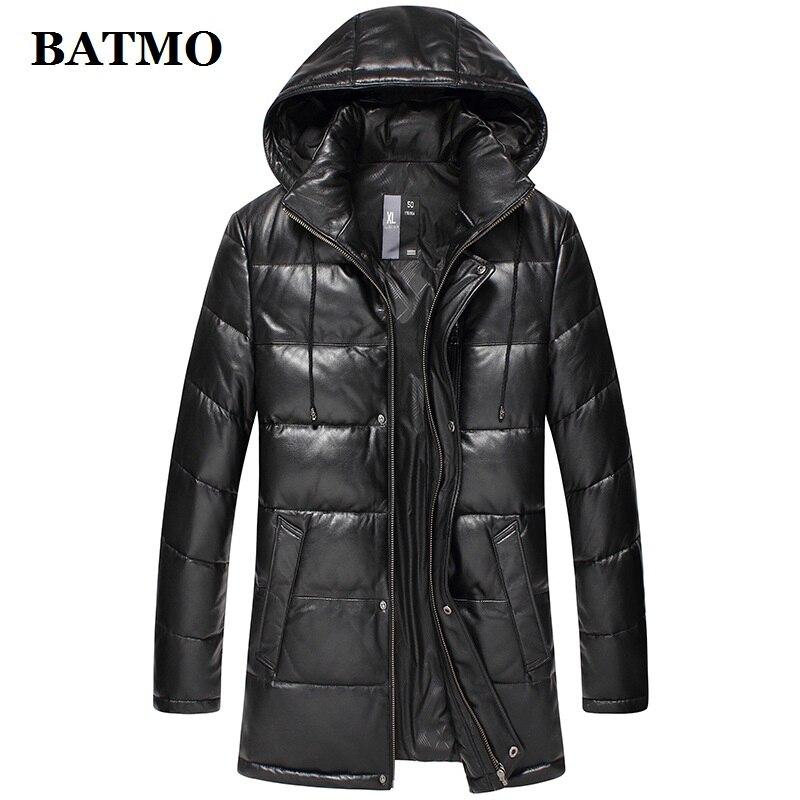 BATMO 2019 nouveauté automne hiver 90% duvet de canard blanc naturel véritable peau de mouton vestes à capuche hommes, hommes vestes en cuir