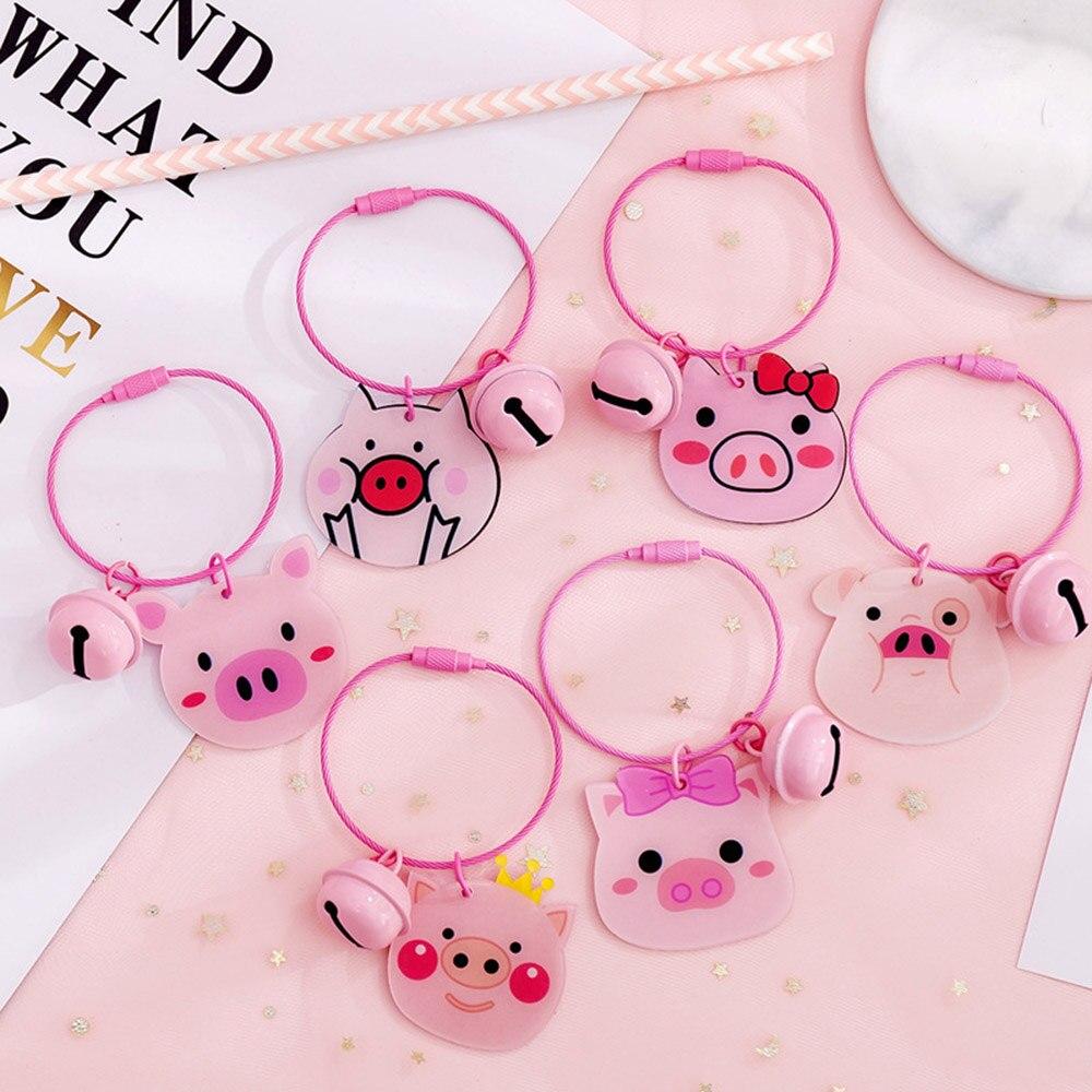 Dessin animé rose cochon cloche porte-clés poupée porte-clés cadeau pour hommes femmes filles sac étudiant pendentif Figure breloques voiture porte-clés bijoux