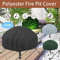 420d oxford cloth portable barbecue grill garden solid round silver coated dustproof waterproof protective cover fire pit cover