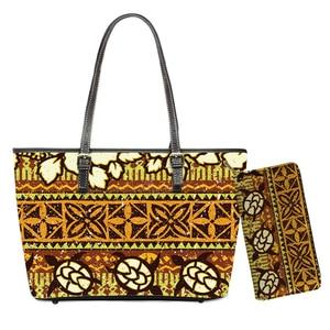 Ethnic Tribe Turtle Pattern Retro PU Handbags Luxury Large 2pcs/set Top-handle Bags for Women Zipper Shopping Totes