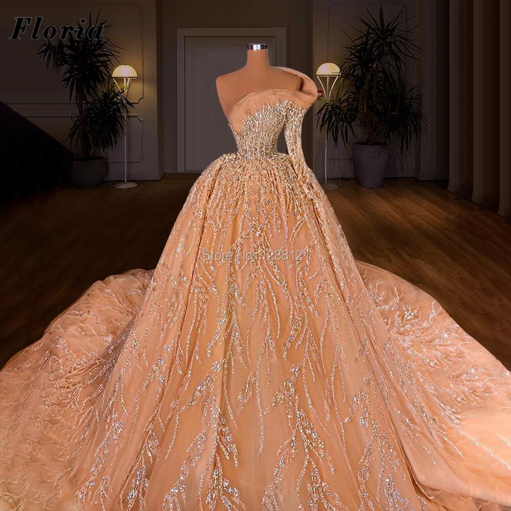 Heavy Beading One Long Sleeve Wedding Dresses 2021 New Luxury Bridal Gowns Vestido De Novia Saudi Arabia Rhinestone Bride Dress