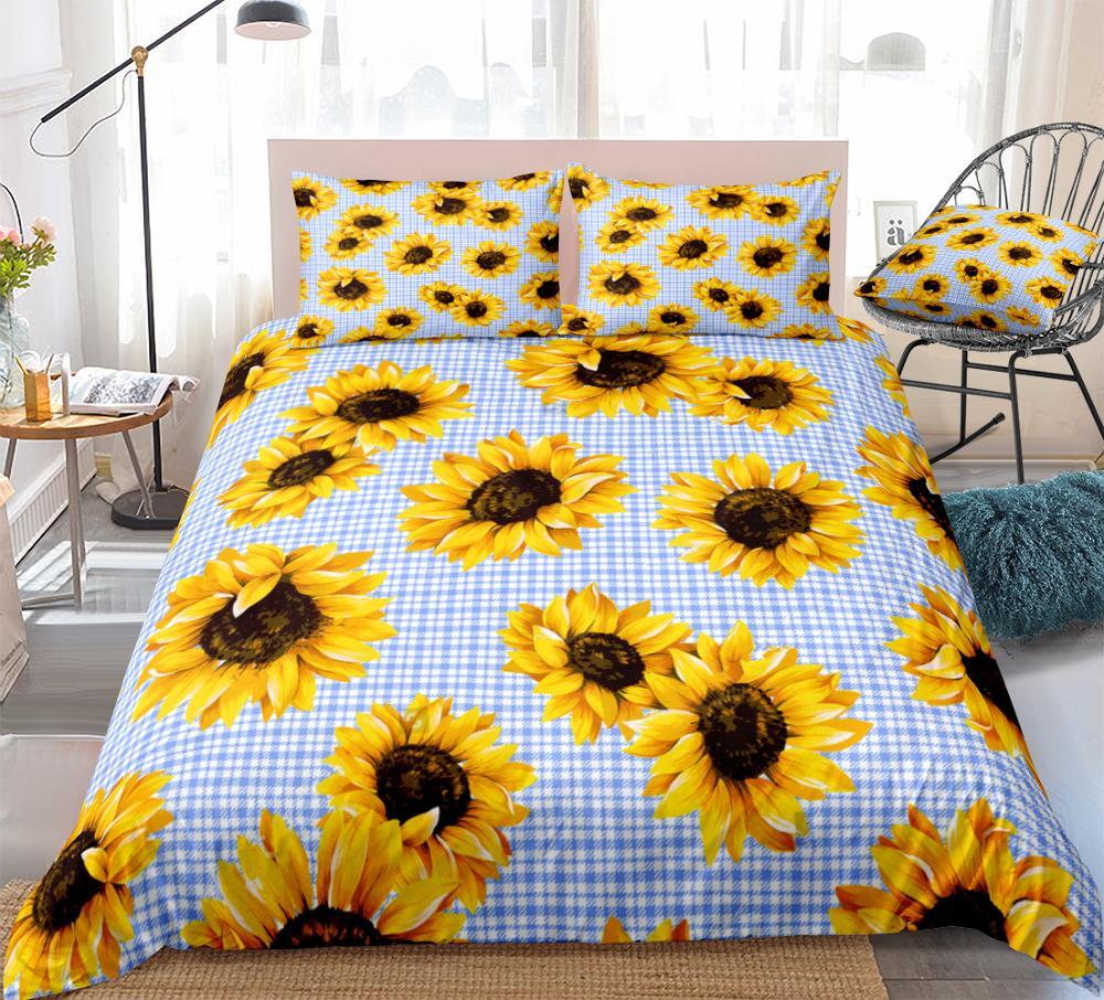 Juego de 3 piezas de edredón de girasoles azul y blanco, ropa de cama para niños y niñas, funda de edredón de flores amarillas, Reina, flor, envío directo