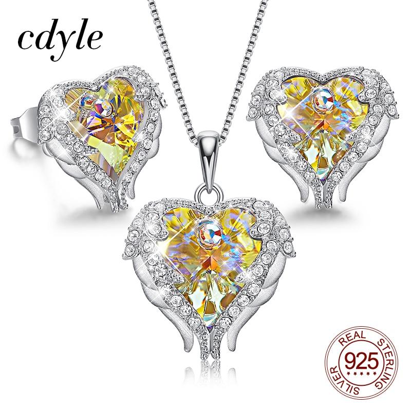 Cdyle romántica boda amarillo cristal Ángel colgante de corazón con alas collar pendientes con circón 925 Plata mujer joyería Set