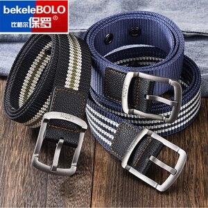 Bekele bolo striped men's belt high-quality encrypted canvas hard metal steel buckle belt for men leather closure sports belt