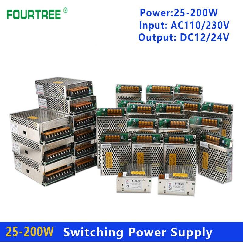 تحويل التيار الكهربائي محول ضوء التيار المتناوب 110 فولت 230 فولت إلى تيار مستمر 12 فولت/24 فولت مصدر امدادات الطاقة محول 25 واط 50 واط 75 واط 100 واط 120 ...
