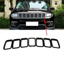 7 unids/set ABS negro rejilla de la barra delantera del coche Parrilla de malla media marco de la cubierta del parachoques para Jeep Compass 2017-2019 estilo del coche