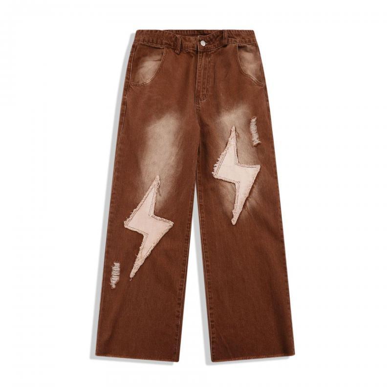 Мужские и женские джинсы с молнией, Коричневые джинсы в стиле ретро, модные брендовые свободные прямые брюки в американском стиле