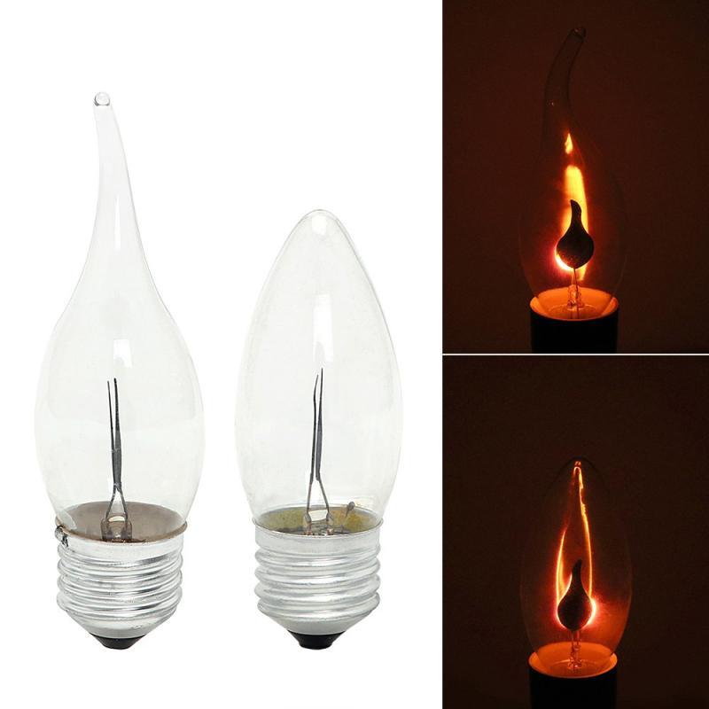 E14 3W llama fuego Luz LED iluminación con bombillas Edison Vintage lámpara efecto parpadeante tungsteno vela punta lámpara