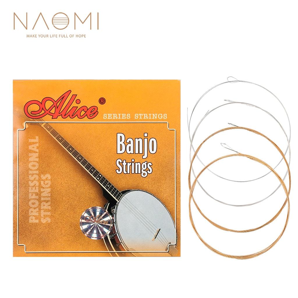 Naomi 1 conjunto alice aj04 aço inoxidável revestido liga de cobre ferida 4 cordas (adgc) banjo cordas