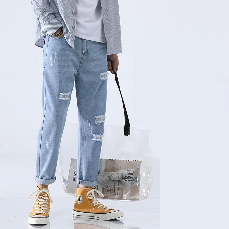 Light Blue Skinny Jeans Men Streetwear Destroyed Ripped Jeans Homme Hip Hop Broken Male Pencil Hole Denim Pants five pockets destroyed skinny jeans
