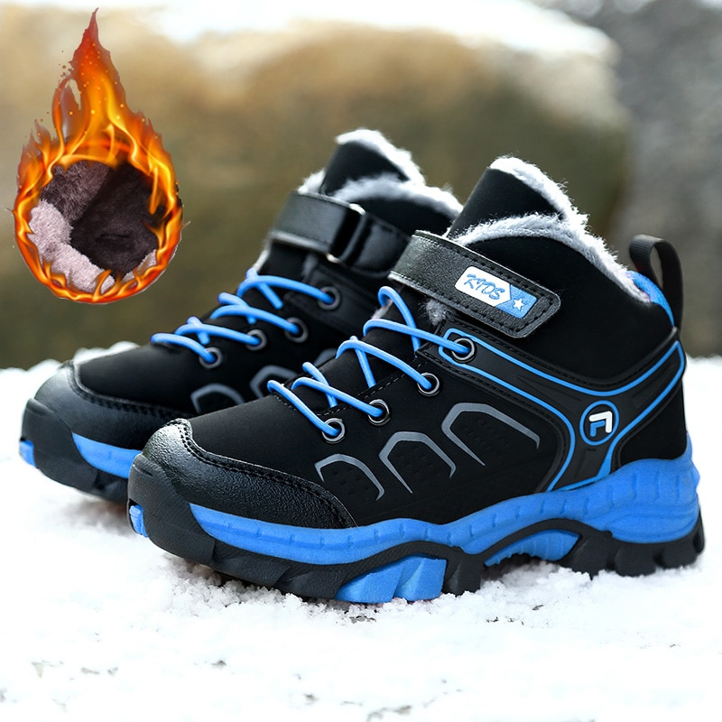 2020 High Top Kids Sneakers Boys Warm Plus Fur Winter Snow Boots Leather Brand Children Casual Shoes