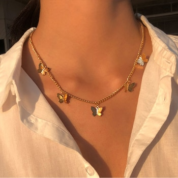 Vintage multicouche pendentif papillon collier pour femmes papillons lune étoile tour de cou à breloque colliers Boho bijoux cadeau de noël