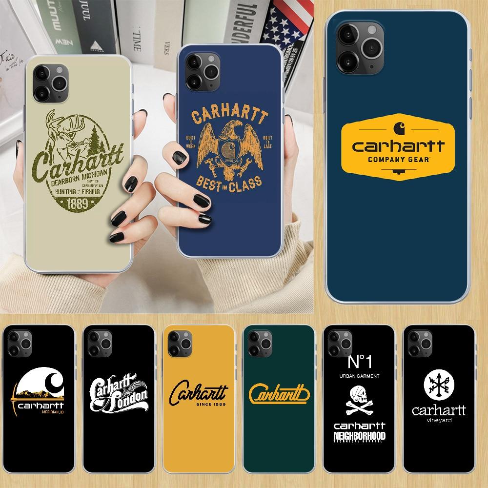 Carhartt tendência marca caso de telefone capa para iphone 4 4S 5 5c 5S 6s plus 7 8 x xr xs 11 pro se 2020 max transparente funda
