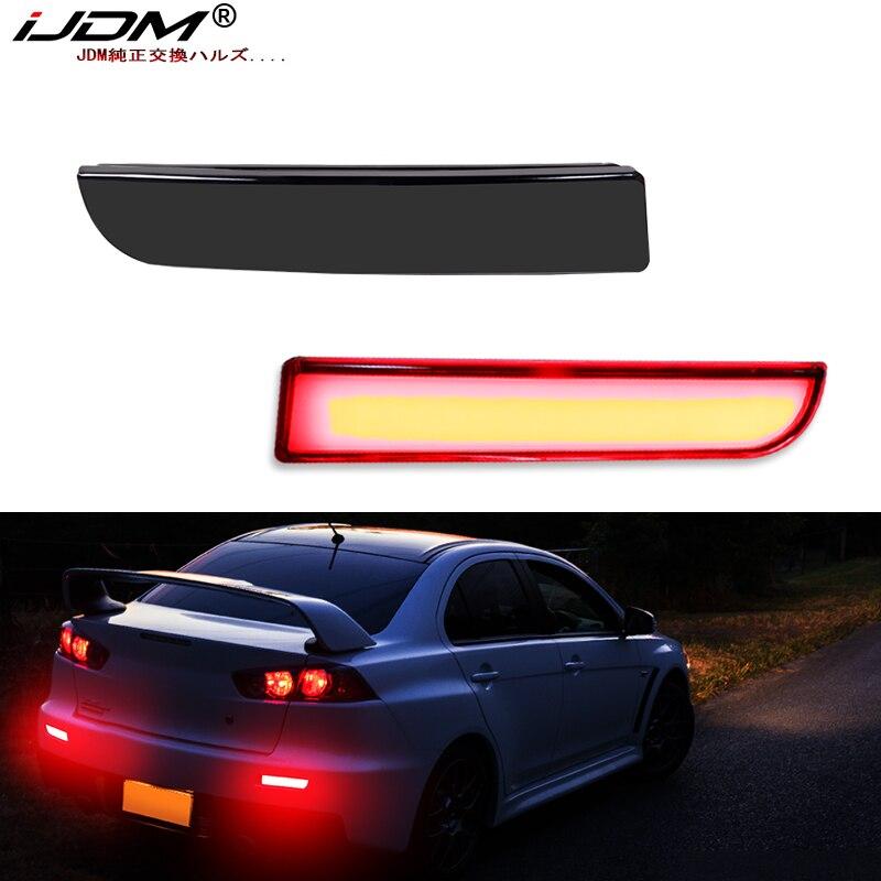 Luces reflectoras de parachoques iJDM completas de LED para Mitsubishi Lancer Evo X Outlander, para luz trasera/freno, luces de señal de giro y luces antiniebla traseras