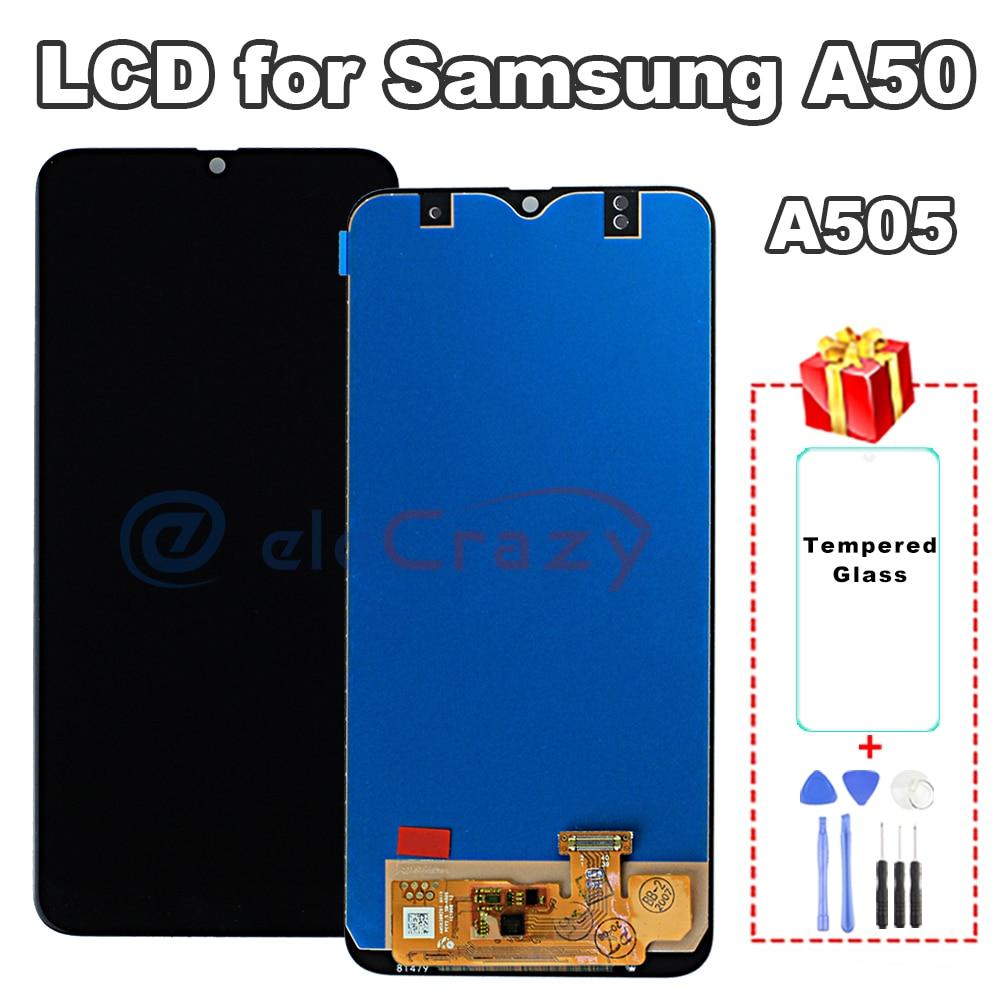 Premium-شاشة LCD تعمل باللمس لجهاز Samsung Galaxy A50 A505 ، تم اختبار A505FN A505W A505G A505U