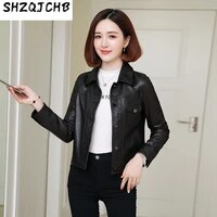 shzq leather womens short motorcycle jacket 2021 spring new sheepskin leather jacket square collar
