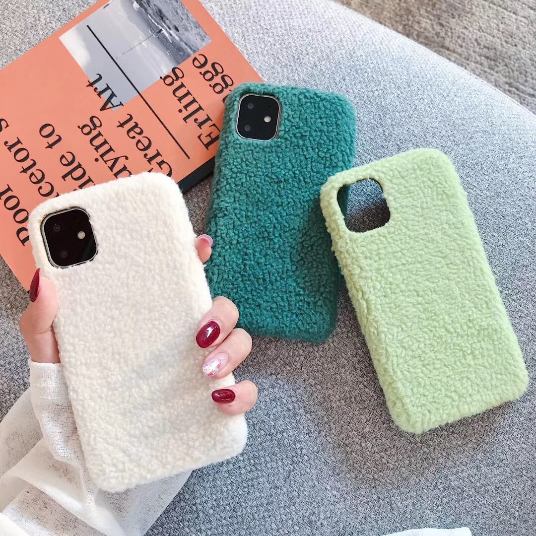 Inverno quente verde caso de telefone de pelúcia para iphone 11 pro max doces macio macio tpu caso para iphone 7 8 6 plus xs max xr capa feminina