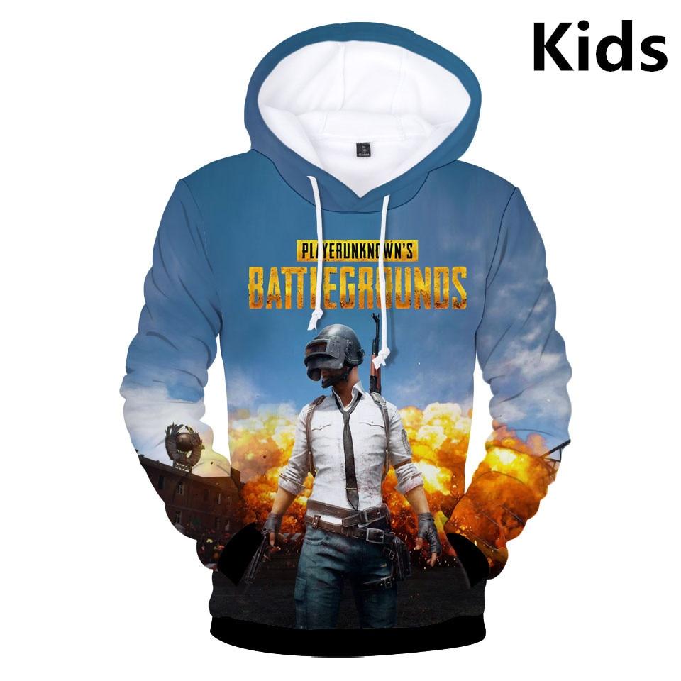 Caliente 2 a 12 años niños Hoodies 3D Playerunknowns Battlegrounds PUBG Hoodie sudadera niños niñas Lovely niños chaqueta ropa