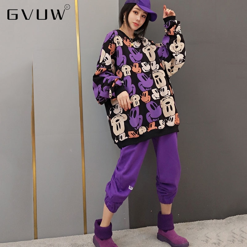 GVUW 2 Peice مجموعات وتتسابق 2021 الخريف جديد بدلة على الموضة الكورية الكرتون سترة معطف سراويل تقليدية المرأة قطعتين KB64198