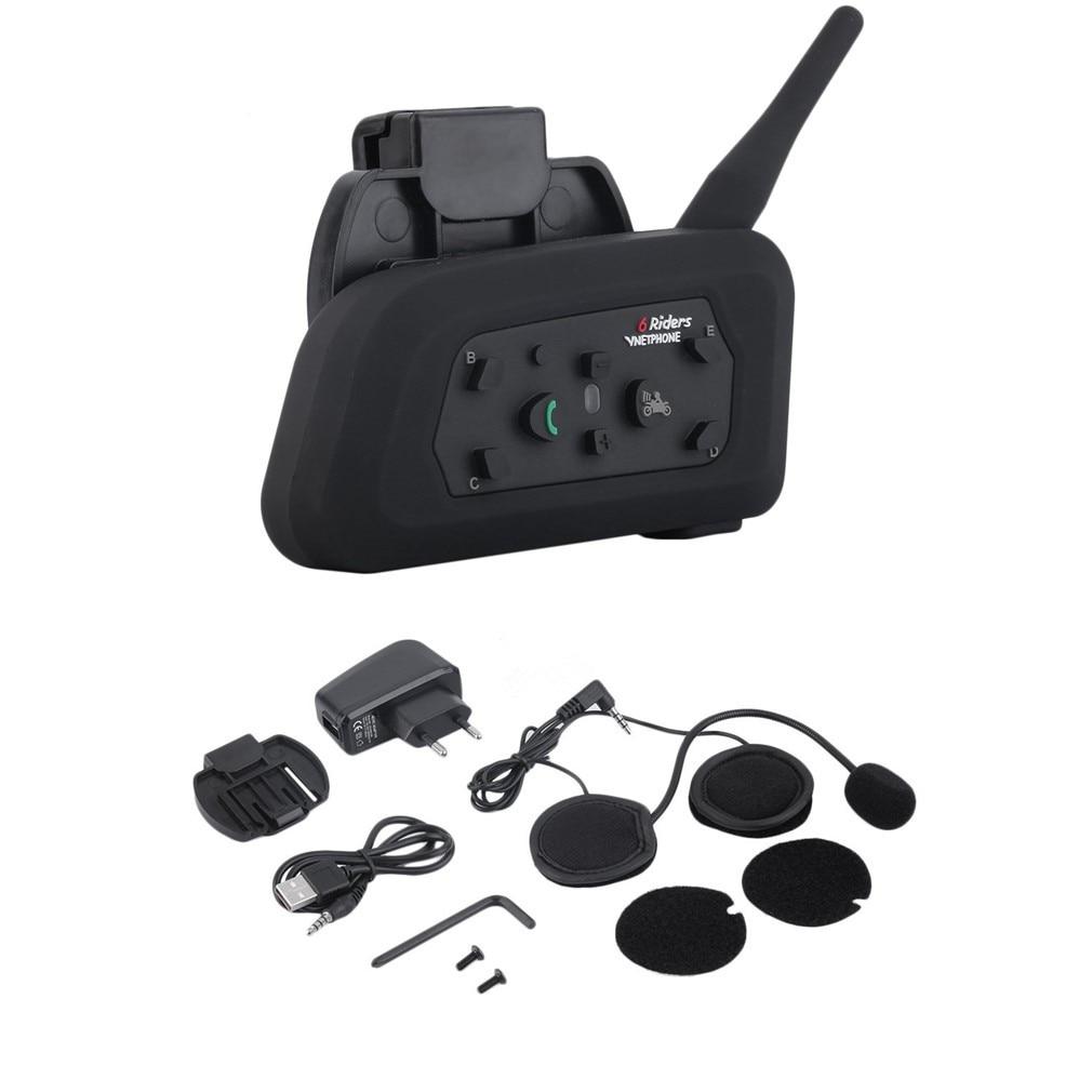 US / EU enchufe V6 casco intercomunicador 6 jinetes 1200M intercomunicador Bluetooth de motocicleta auriculares Walkie Talkie casco BT interfono