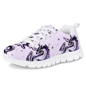 HYCOOL Fashion Flower Classic Look Horse Print Student Girl Outdoor Running Mesh Sneakers Children Casual Footwear Spring Autumn