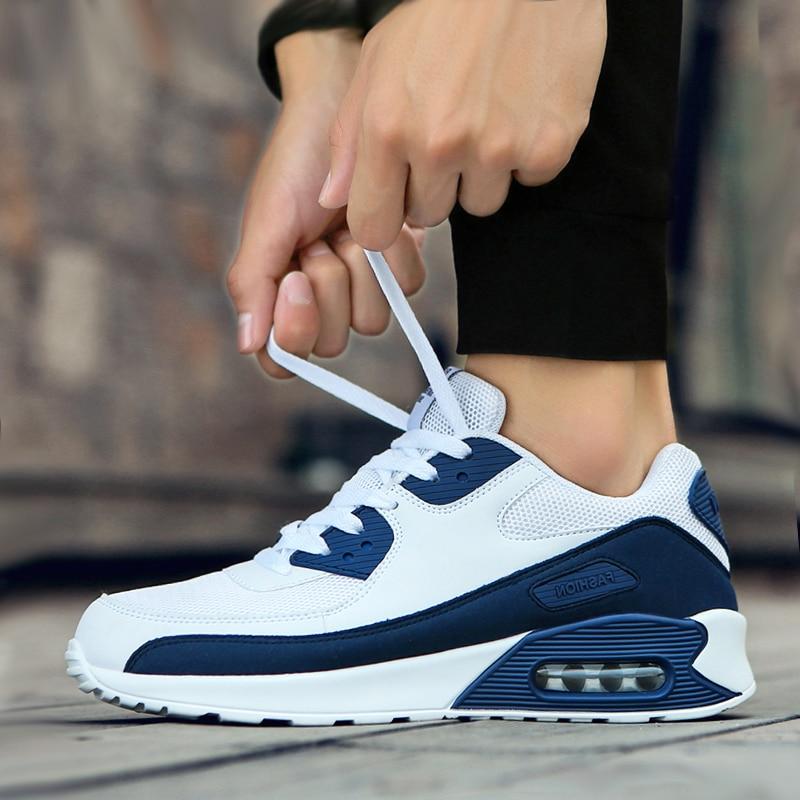 حذاء رياضي رجالي مبطن بالهواء ، حذاء رياضي كاجوال عصري ، للجري ، مع خليط أزرق ، للمشي والركض ، مقاس كبير ، 46 عاشق