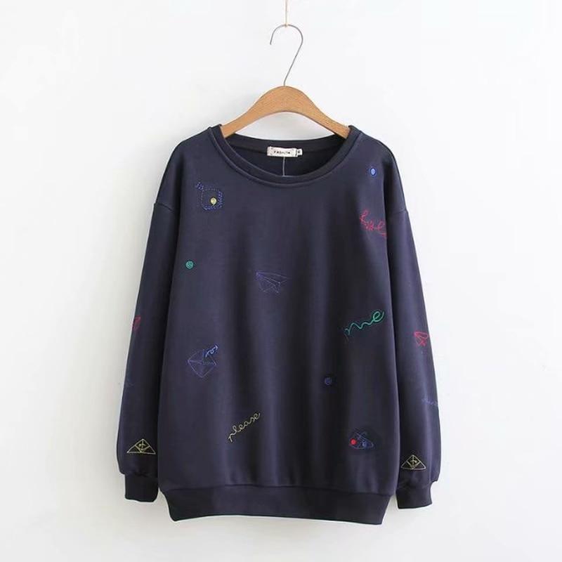 Plus Size Women Korean Style Oversize Loose Navy Blue Hoodies Long Sleeved Embroidery Tops sweatshirt