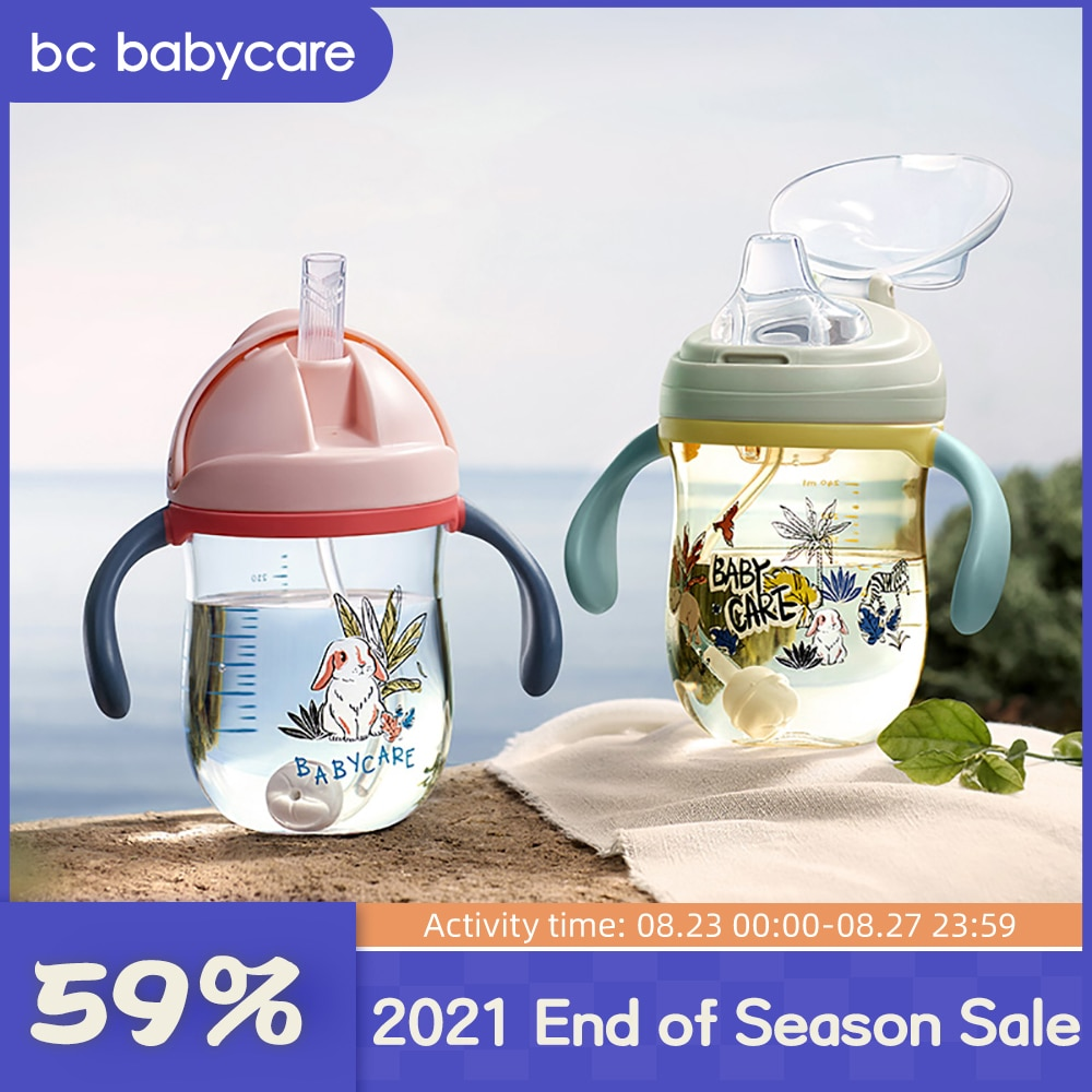 BC Babycare Baby Sippy Cup Print Anti-choked Handle&Sling Feeding Duckbill Cup Gravity Ball Drinking Learning Straw Water Bottle