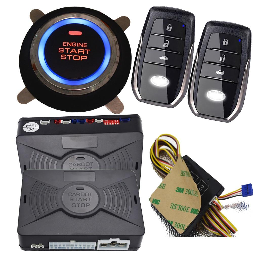Botón de arranque, parada de alarma de seguridad de coche, sistema de auto sin llave, cerradura central, puerta, protección inteligente contra robo, alarma de salida gps