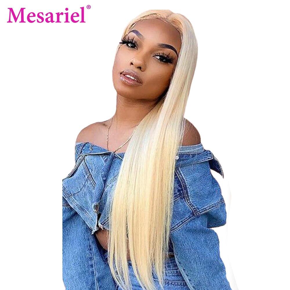 M 13x4 pelucas de cabello humano con frente de encaje Rubio Remy 613 Peluca de encaje transparente de pelo lacio brasileño para mujeres negras