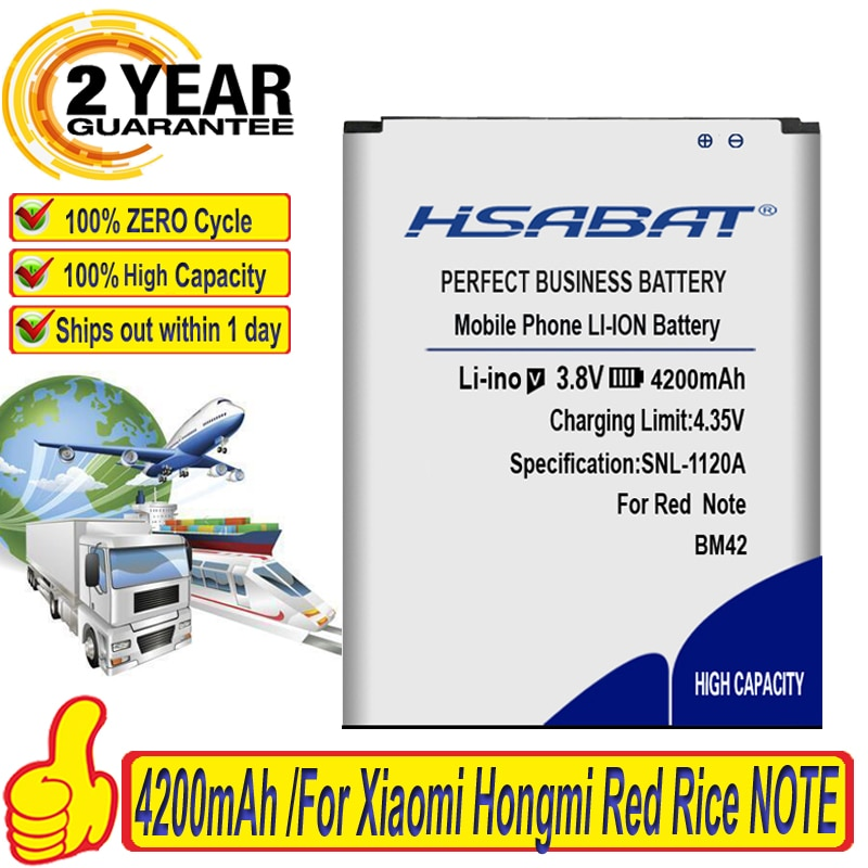 "HSABAT BM42 batería de 4200mAh para Xiaomi Hongmi arroz rojo nota 5,5 ""M2 M2S XIAOMI MIUI Redrice Redmi Xiaomi Redmi nota 2s 4g Batterie"