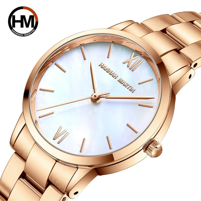 ساعة يد كوارتز يابانية للنساء ، سوار كلاسيكي من الفولاذ المقاوم للصدأ مع لؤلؤ محار من اليشم ، صدفة بيضاء ، مجموعة جديدة 2021