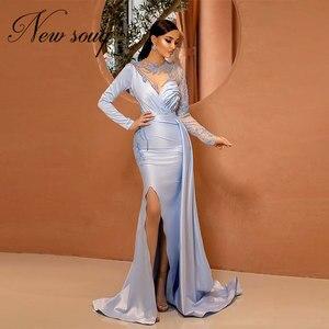 Charming Muslim Beaded Evening Dresses Illusion Arabic Formal Kaftans Dubai Party Gown 2021 Custom Prom Dresses Vestido De Festa