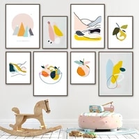 sun color block line pear bowl abstract wall art canvas painting nordic posters and prints wall pictures for living room decor