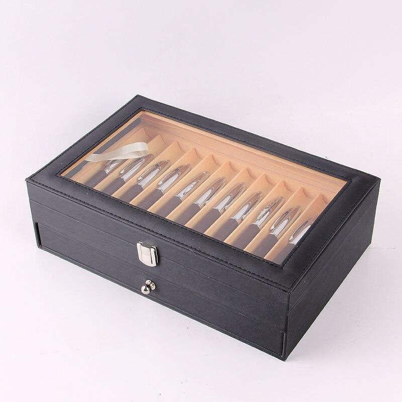 Gran oferta 24 pluma fuente de madera expositor caja de madera caja de almacenamiento organizador para coleccionista caja negra
