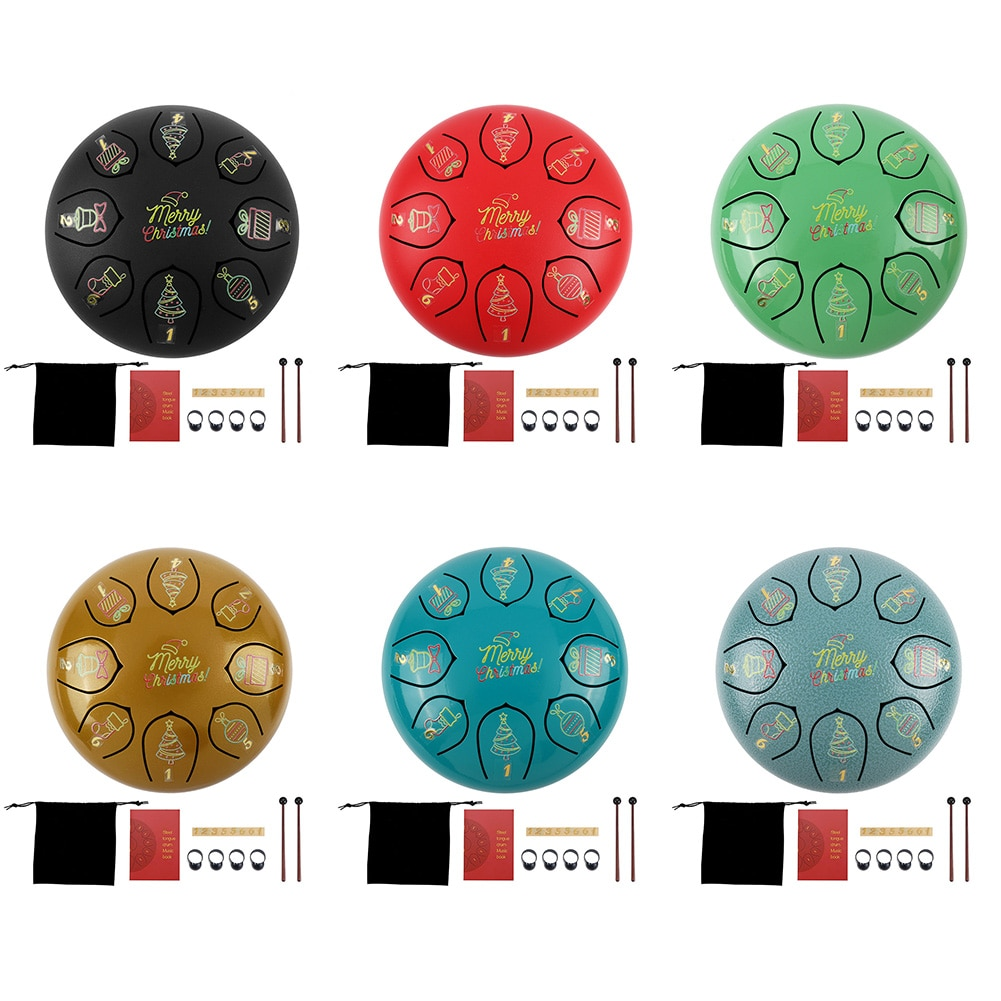 6 Inch Steel Tongue Drum 8 Tune Hand Pan Drum Tank Drum With Drumsticks Bag Percussion Instruments Christmas Painted version