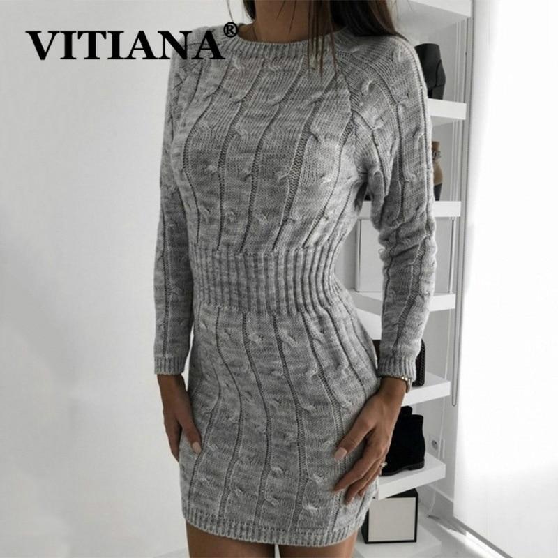 VITIANA mujer otoño Sexy jersey de fiesta vestido invierno 2019 mujer Casual manga larga ajustado Bodycon Mini Vestidos tejidos Vestidos