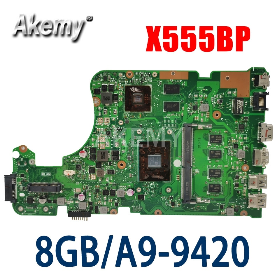 NOVA placa-mãe de laptop AKEMY X555QG para ASUS X555Q X555B X555BP K555B A555B K555Q placa-mãe original 8GB-RAM A9-CPU R5-M420