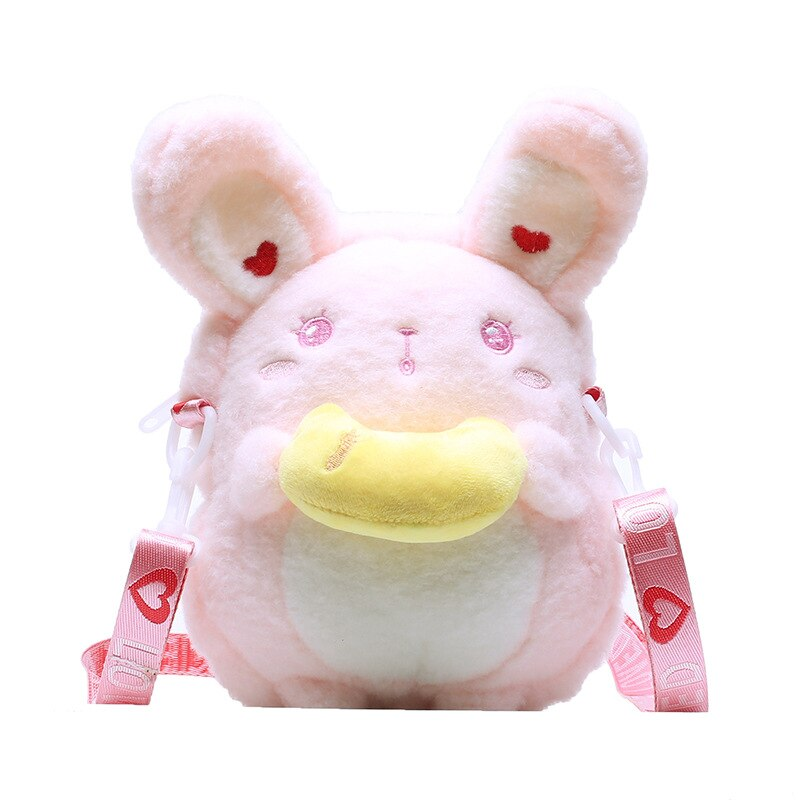 Cute Plush Doll Rabbit Messenger Bag Girls Bear Phone Purse Organizer Crossbody Shoulder Bags 2020 Autumn Winter Bag For Females